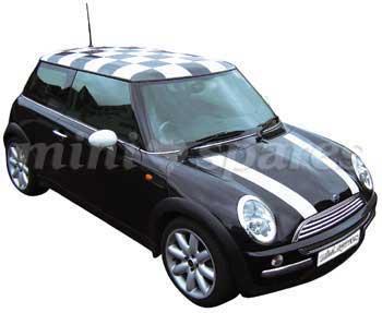 NMXB Mini Bmw Mini Black Check Roof Decal Ms - Bmw mini roof decals