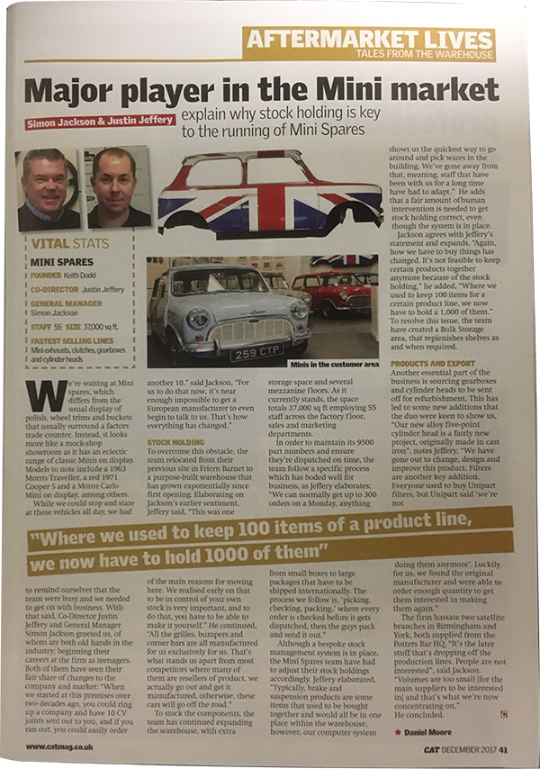 Mini Spares article in CAT Magazine